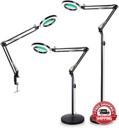Tomsoo 3-in-1 Magnifying Glass Floor Lamp With Clamp White/warm White Lighted M