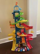 Fisher Price Little People City Skyway Race Trace With 6 Cars
