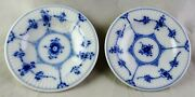 Pair Of Royal Copenhagen China Blue Fluted Plain 7 Butter Pats No Trim Smooth