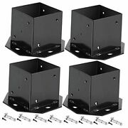 4 Pack 4 X 4 Inches Post Bases, Black Powder Coated Fence Post Base Brackets