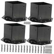 4 Packs 4 X 4 Inches Fence Post Base, Metal Brackets Post Bases With 16