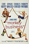 Gold Coin Silver Antique Coins Monkey Business Original Movie Poster. 1952.