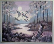 Giant Framed Canvas Oil Painting By Kay Harry 63x51 - Nature - Ducks -stream