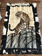 """Asian Fur Rug With Tiger Image On Rug/wall Hanging. Very Impressive Work 79x50"""""""