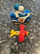 Vintage 60s/70s Snoopy Toy Plastic Motorcycle And Die Cast Plane