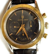 Universal Geneve Compax Chronograph 284.445 Manual Winding Menand039s Black Leather