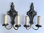 1920s Pair Of Antique Wall Sconces Lamp Light Fixtures Silver Metal Brass Arms