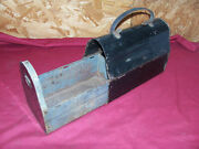 Antique Slide Out Lunch Box Pail Old Vintage Tin Metal Collector Collectible Usa
