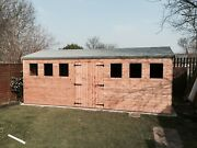 20 X 8 Wooden Shed Workshop Various Redwood Tandg Timber Cladding And Roof Covering