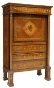 Antique Italian Empire Marquetry Fall Drop Front Service Bar Abattant