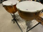 Vintage 25 And 28 Copper Ludwig And Slingerland Timpani Drums