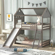 Twin Over Twin Bunk Bed Wood Bed Frame W/roof Window Slide Ladder Antique Gray