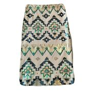 Express Sequin Midi Skirt S Fitted Straight Pencil Side Zip Aztec Tribal Sparkle