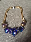 Vintage 90s French New Old Stock Costume Jewelry Necklace Made In France