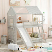 Twin Over Twin Bunk Bed Wood Bed Frame W/roof Window Slide Ladder Antique White