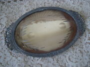 Gorgeous Shabby Old French Plateau Mirror Vanity Tray With Etching Design Sale