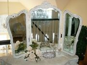 Gorgeous Shabby Old French Triple Mirror Vanity Table Mirror Beautiful