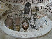 Exquisite Shabby Roses Plateau Mirror Tray Vanity Swags And Garlands So Pretty