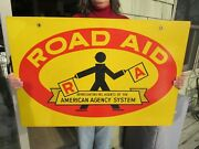 Vintage Original Road Aid Double Sided Sign American Insurance Agency System