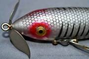 Rare Gold And Dented Eyes Heddon Wounded Spook Vintage Lure