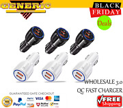 50x Wholesale Lot Dual Usb Port Fast Car Charger Qc 3.0 For Iphone Samsung