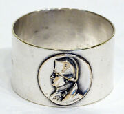 1800and039s Antique Victorian Napoleon Medallion Silver Plate Napkin Ring By Seurre