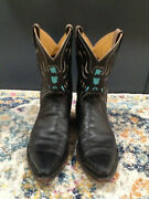 Caboots Little Eagle Mens Peewee Inlaid Black Leather Western Cowboy Boots 9 D