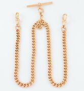 Antique 9ct Rose Gold Double Albert Watch Chain / Necklace 16 3/4 Inches