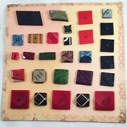 Antique Vintage Old Buttons On Card Sewing Project Clothes Coats Shirts Blouses