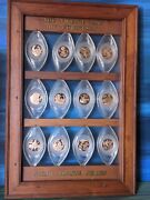 Franklin Mint 12 Days Of Christmas Ornaments - Bronze Coins In Clear Lucite 1970