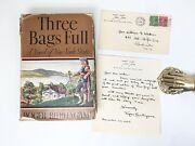 Burlingame, Three Bags Full 1936 First Edition, Inscribed W/ Letter