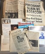 Large Lot Of Jfk Assassination Newspapers Magazines Life Clippings Newsletter Ma