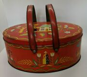 Handled Oval Red Cookie Biscuit Tin Picnic Basket Dutch Figures Bloomingdales Ny