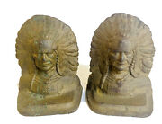 Vintage Cast Iron Book Ends Native American Chief Head Dress