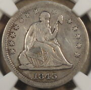 1843-o Seated Liberty Quarter 25c Ngc Certified Xf Details Cleaned Not Bad