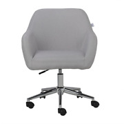 Gray Linen Farbic Home Office Task Chair Adjustable Height