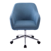 Blue Linen Farbic Home Office Task Chair Adjustable Height