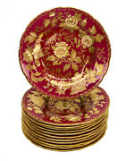 12 Wedgwood England Porcelain Bread And Butter Plates In Tonquin Ruby, Circa 1930