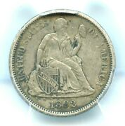 1862-s Liberty Seated Dime Pcgs Xf45