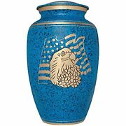 Liliane Memorials Blue Funeral Cremation Urn With American Flag Eagle Model I...
