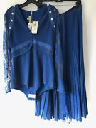 Elie Saab Convertible Lace And Metallic Ribbed-knit Midi Blue Dress Nwt 4625