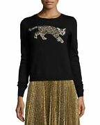 Nwt Alice + Olivia Beaded Embellishments Bengal Cat Wool Sweater Pullover M