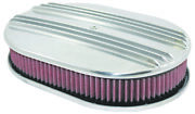 12 Classic Finned Polished Aluminum Oval Air Cleaner W/ Washable Filter Chevy F
