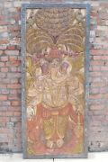Vintage Traditional Ganesha Wall Sculpture Religions Barn Door Hand-carved 84x36