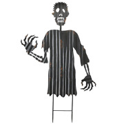 48 In. Creeping Zombie Garden Stake Painted Black With Distressed Finish
