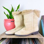 80s Vintage Light Tan Suede Sherpa Lined Hush Puppies Boots