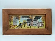 Dolores Hackenberger Folk Art Painting On Board, Fall Amish Homestead