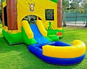 Commercial Inflatable Bounce House Tropical Wet Dry Slide 100 Pvc Pool And Blower