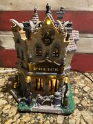 Rare Lemax Spooky Town Halloween Dead City Police Station-lights And Sounds -box