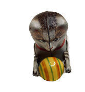 Vintage Toy Marked Made In U.s. Zone Germany Kohler Tin Wind Up Cat With Ball